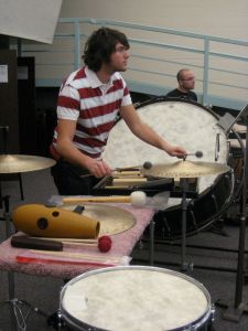Percussionists Sam Page (foreground) and Jake Eastman